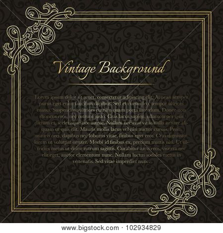 Square vintage background with flourish frame on black seamless pattern for invitation, certificate, diploma, etc