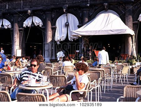 Pavement cafe in St Marks Square, Venice.