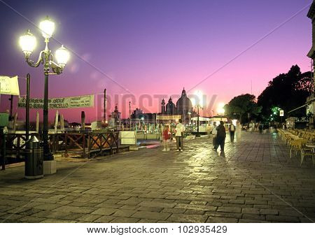 Quayside at dusk, Venice.