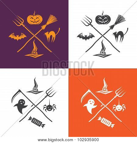 Halloween Illustration With Emblems