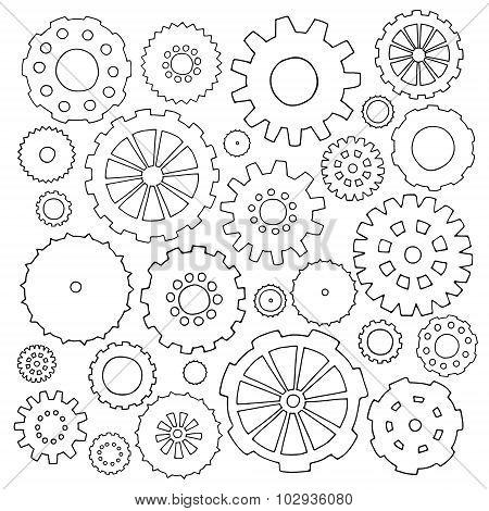 Set Of Cartoon Doodle Gears