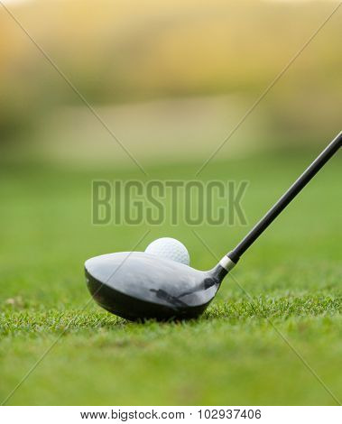 Golf club and ball in grass, low depth of focus