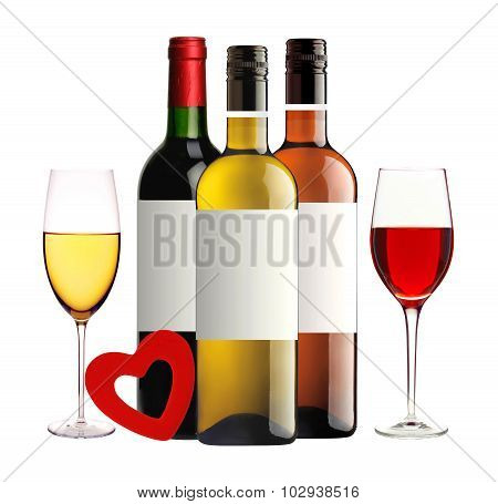 Bottles Of Red, Pink And White Wine, Wineglasses And Red Heart Isolated On White