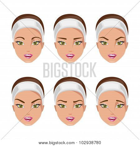 Type Of Eyebrows. Vector Illustration