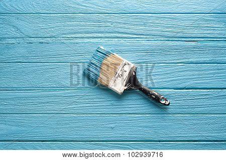 Paintbrush Blue Wood Coating Tool Wood Teak Still Life Background