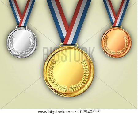Gold silver and bronze medals on ribbons