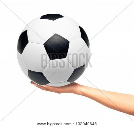 Hand Holding Soccer Ball Isolated On White