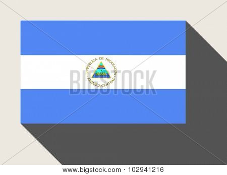 Nicaragua flag in flat web design style.