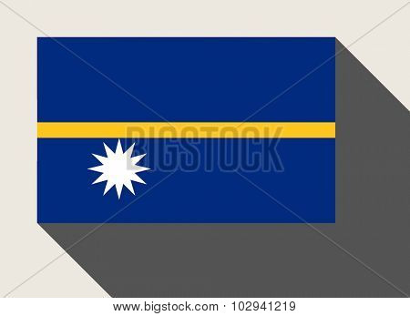 Nauru flag in flat web design style.