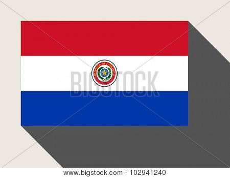 Paraguay flag in flat web design style.