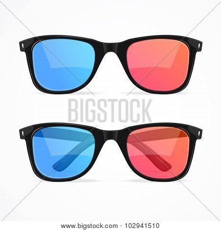 Glasses for Cinema Set. Vector