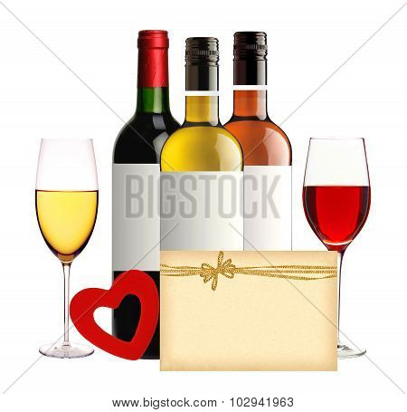 Bottles Of Wine, Wineglasses, Red Heart And Card Isolated On White