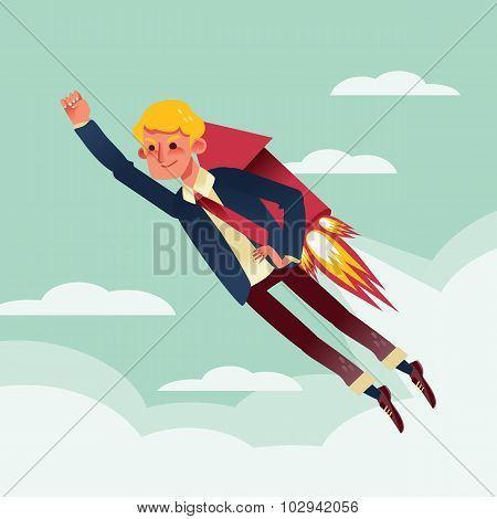 Businessman Flying With Rocket Backpack Illustration