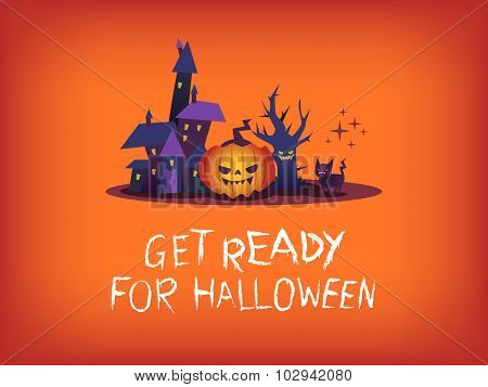 Get Ready For Halloween Text With Scary Pumpkin Haunted House Illustration