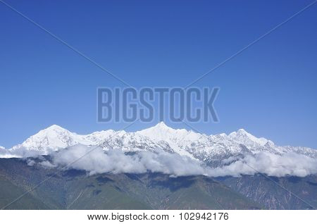 Clouds Are Flying Over The Snow Mountain