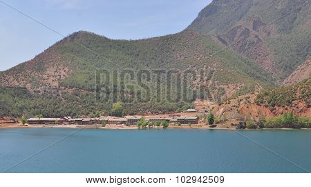 Landscape Of Lugu Lake With The Mountains