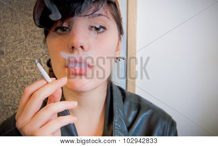 Young Pretty Woman Addicted Smoking Close Up