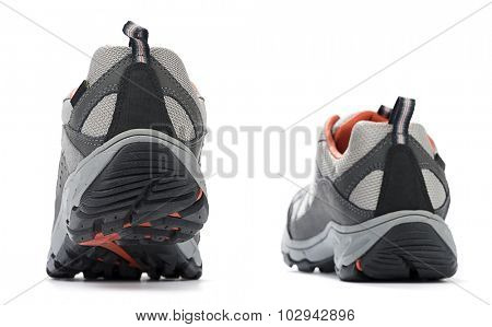 Rear view of hiking boots