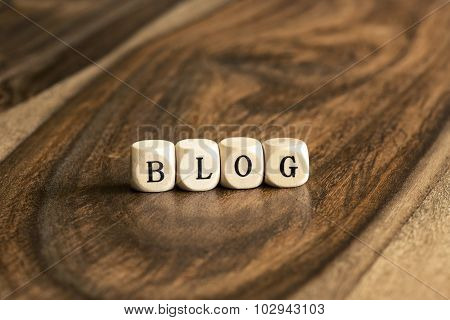 Word Blog On Wooden Cubes