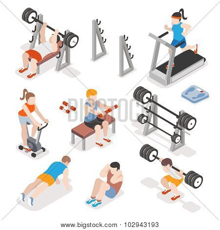 Isometric gym workout flat vector set. Men and women pumping iron illustration. Fitness concepts