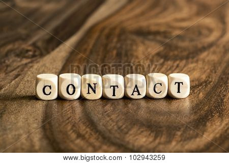 Word Contact On Wooden Cubes