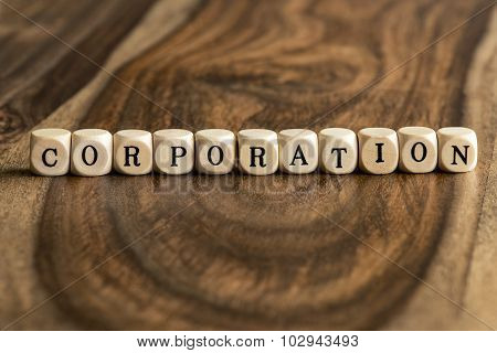 Word Corporation On Wooden Cubes