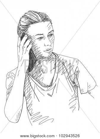 Sketch of woman talking smart phone Hand drawn vector illustration