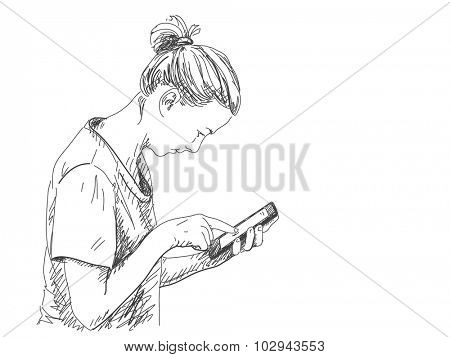 Sketch of woman touching tablet, Hand drawn vector illustration