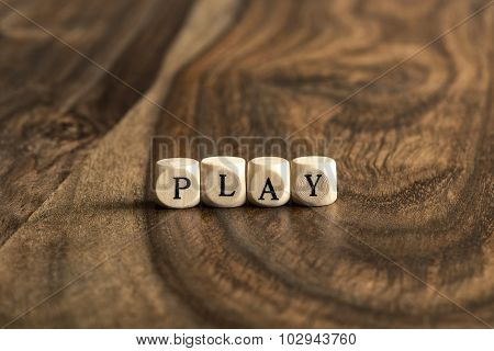 Word Play On Wooden Cubes