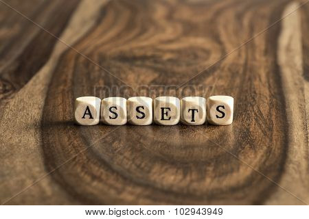 Word Assets On Wooden Cubes