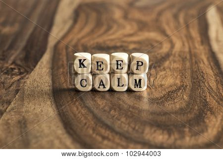 Word Keep Calm On Wooden Cubes
