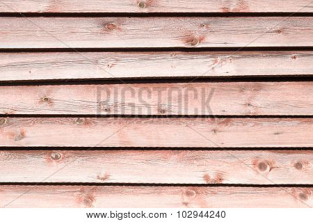 Old Pale Red Wooden Wall With Peeling Paint, Horizontal Boards