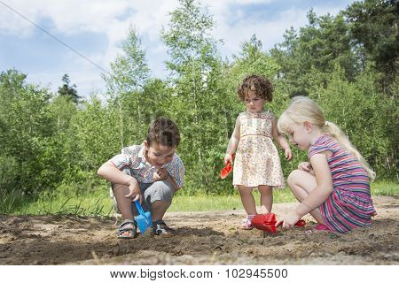 In The Summer In The Woods Digging Small Children Play Ground.
