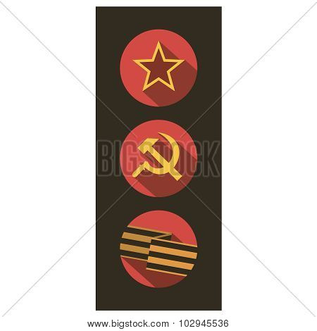 Set of flat style icons of Soviet Union signs.