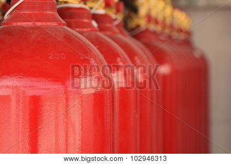 Co2 Fire Extinguishers In A Petrochemical Plant.