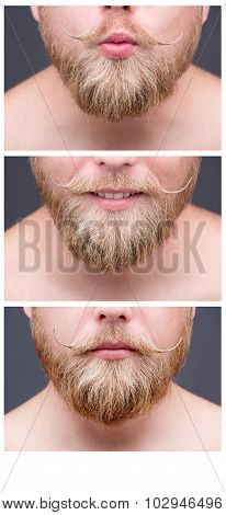 Set of pictures of hipster man's beard and moustche