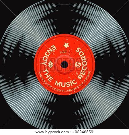 Retro vinyl record poster