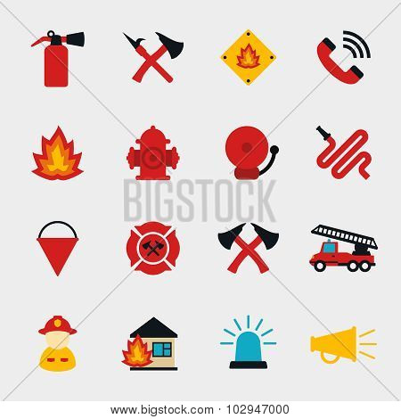 Fire fighter flat icons