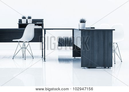 tables and armchairs with reflection on white background