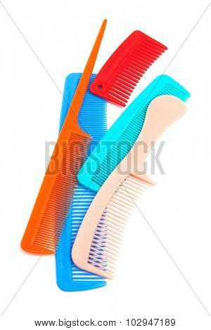 Set of modern combs on a white background