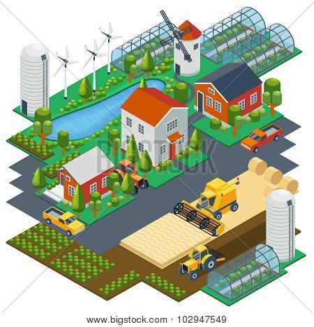 Isometric farm scene. Village setting with buildings, tractor, combine, pickup, pond and mill. Vecto