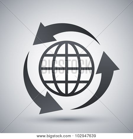 Vector Globe Icon And Recycle Sign