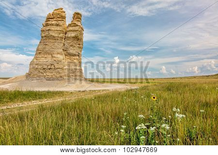 Castle Rock - limestone pillar landmark in prairie of western Kansas near Quinter (Gove County) with wildflowers, summer scenery