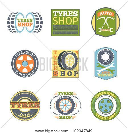 Tyre shop vintage flat badges