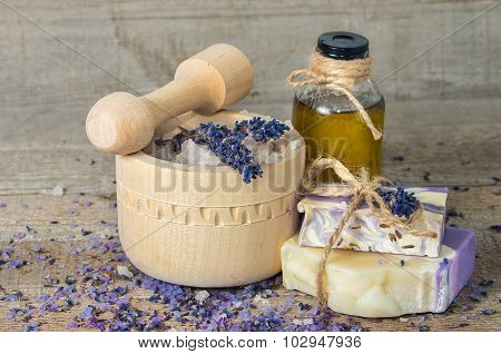Lavender Handmade Soap And Aromatic Oil With Sea Salt In A Mortar