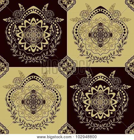 Yellow monochrome seamless pattern