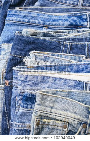 Blue Jeans Denim Stacked Clothing Surface
