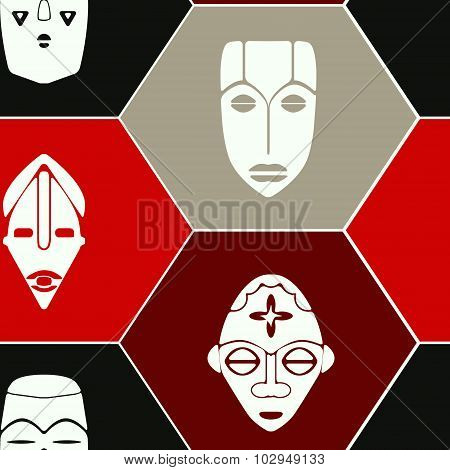 Seamless background with African ritual masks for your design
