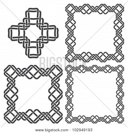 Set of knotting frames and cross