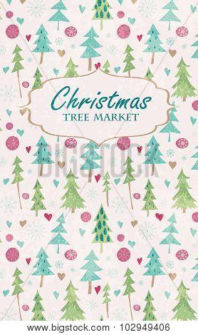 Christmas tree market lettering